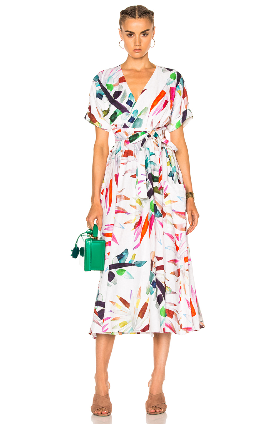 Mara Hoffman Midi Wrap Dress in Abstract,Floral,White