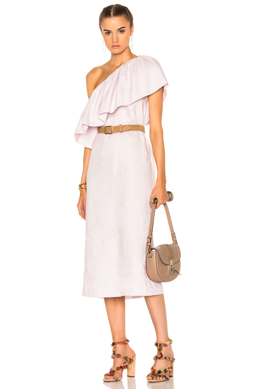 Mara Hoffman One Shoulder Mini Dress in Purple
