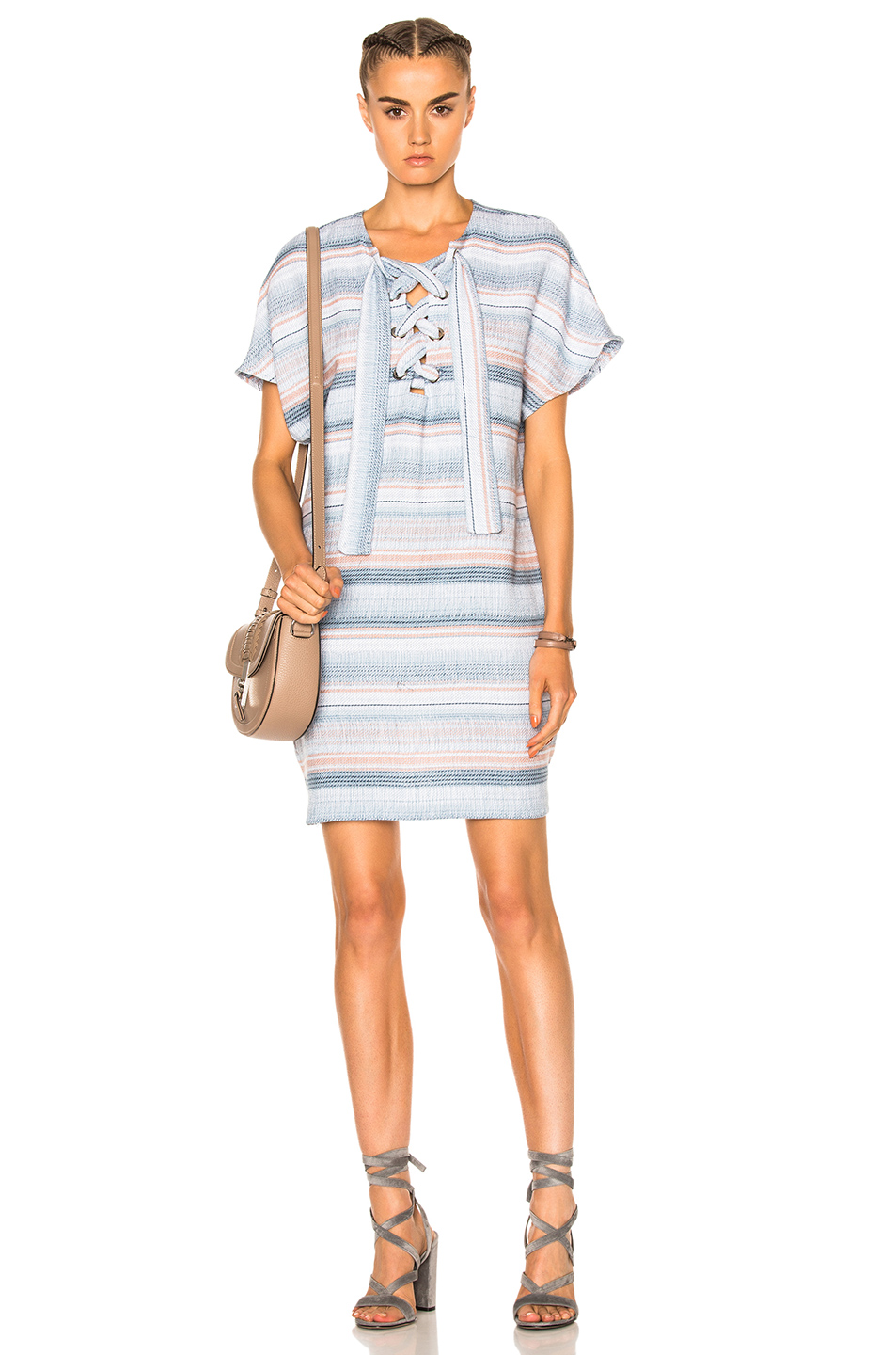 Mara Hoffman Lace Up Mini Dress in Blue,Pink,Stripes,White