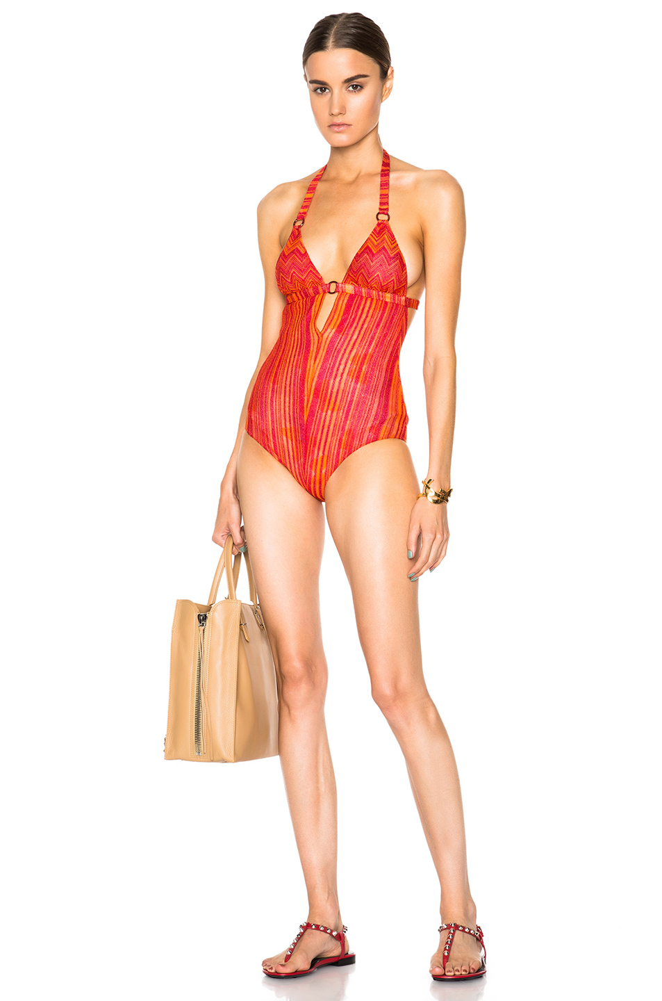 Missoni Mare V Neck Swimsuit in Red,Metallics,Stripes,Abstract