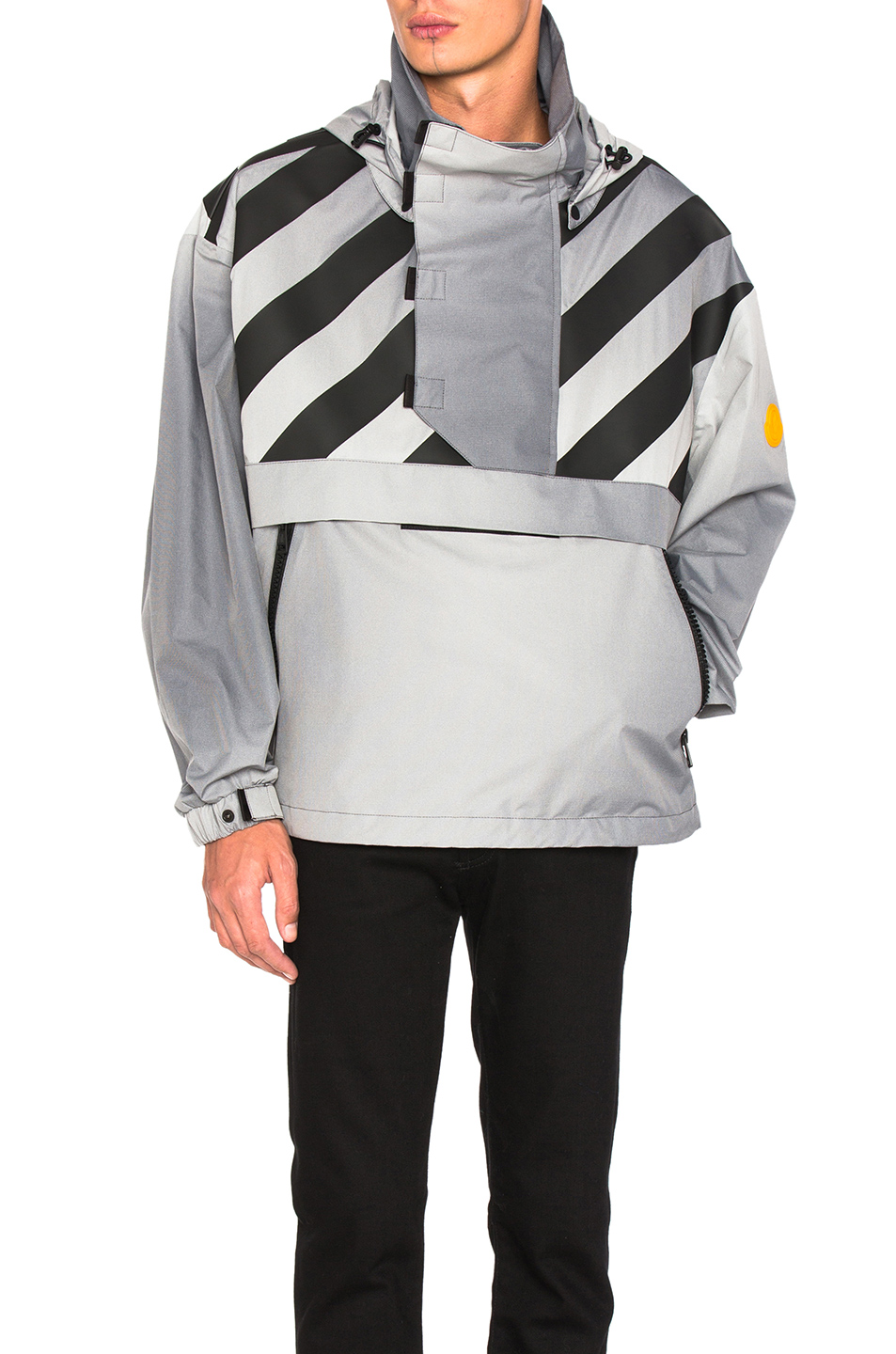 Moncler x Off White Donville Jacket in Gray,Stripes
