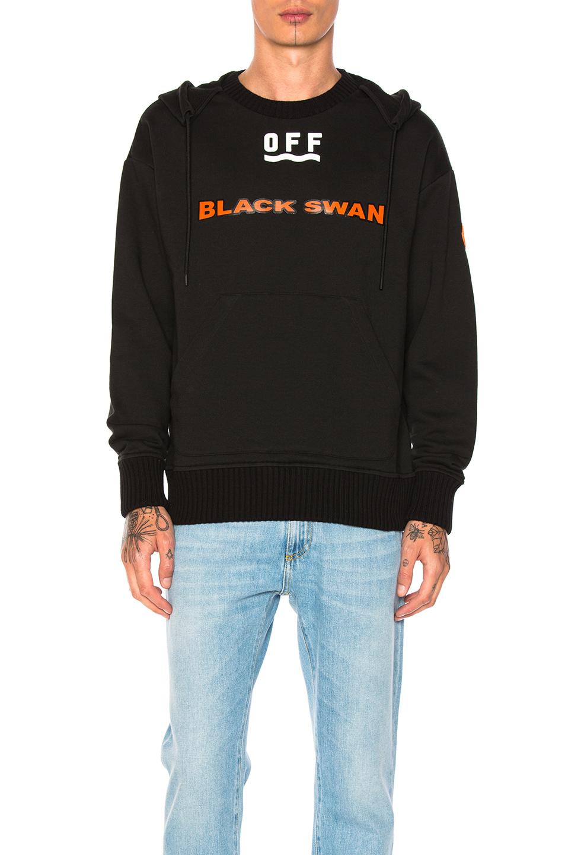 Moncler x Off White Black Swan Hoodie in Black