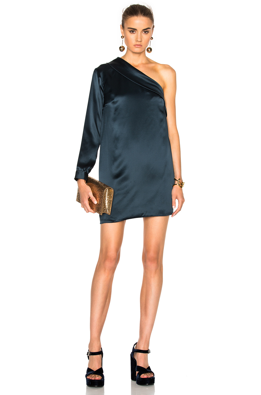 Michelle Mason Asymmetric Shift Dress in Blue,Gray