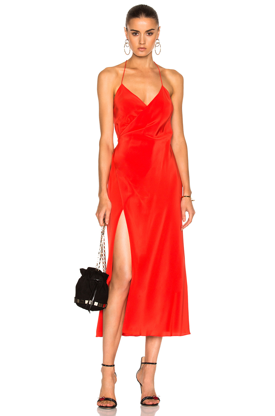 Michelle Mason Strappy Wrap Midi Dress in Red