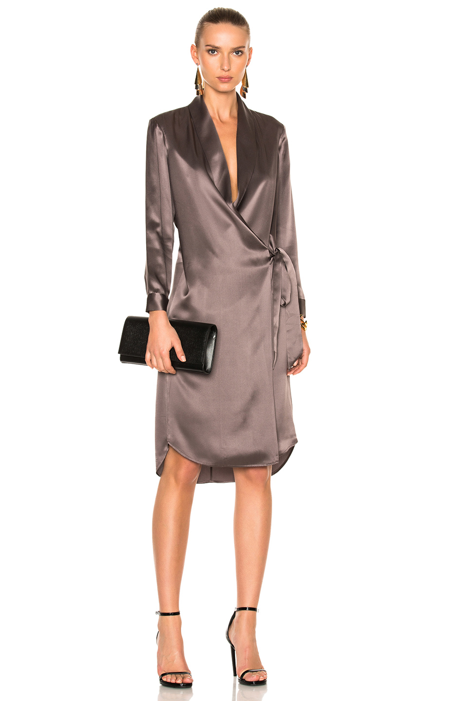Michelle Mason for FWRD Long Sleeve Belted Tunic Coat in Purple