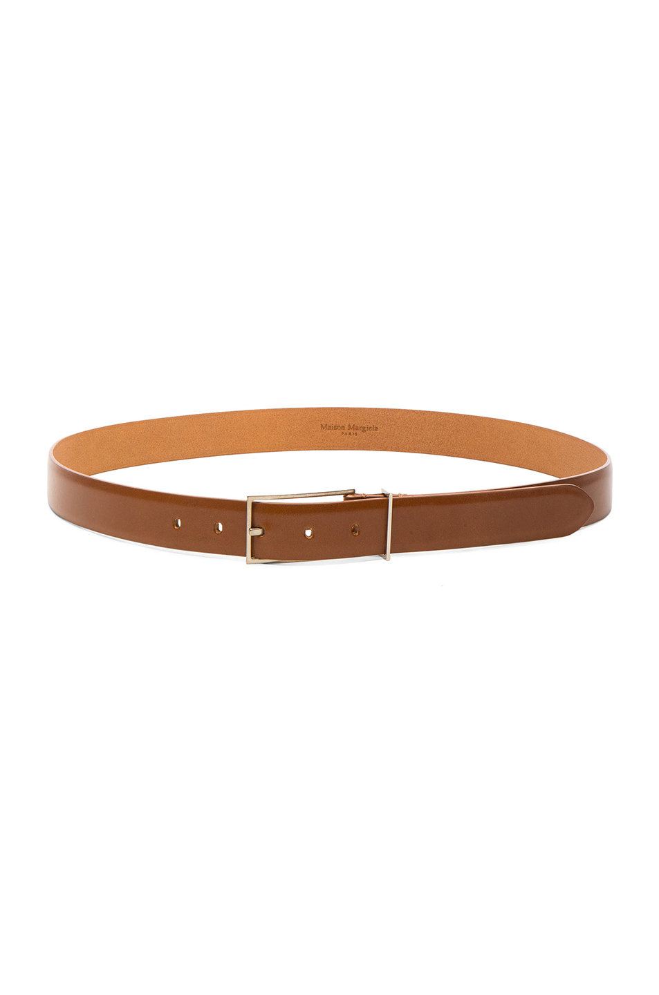 Maison Margiela Bright Calf Leather Belt in Brown