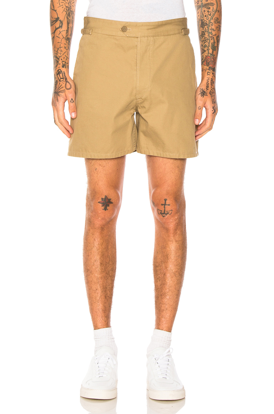 Maison Margiela Cotton Gabardine Shorts in Neutrals