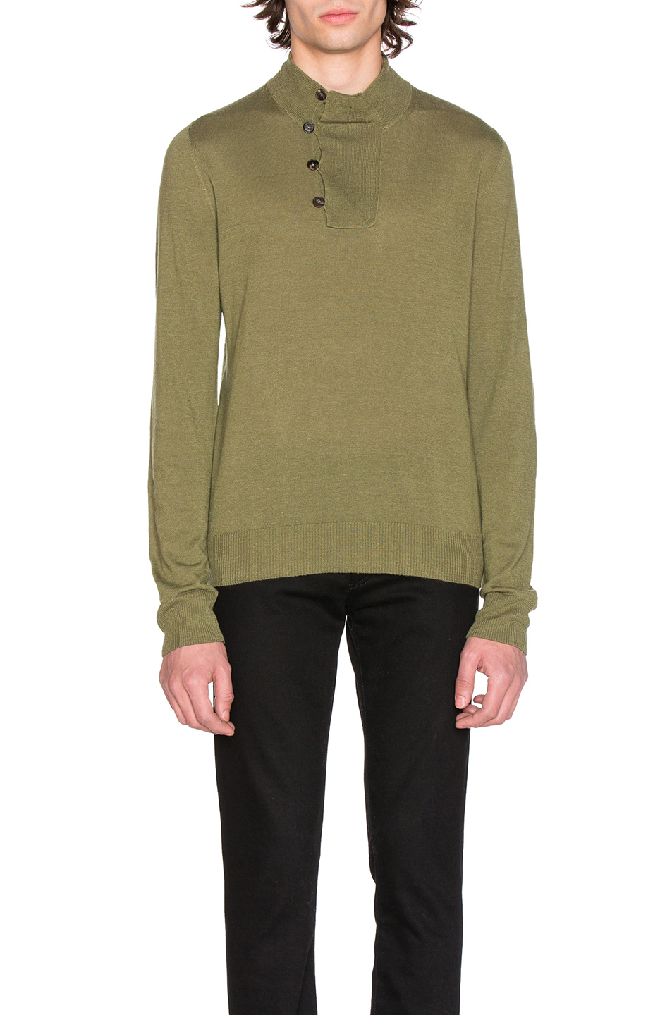 Maison Margiela Jersey Elbow Patch Sweater in Green