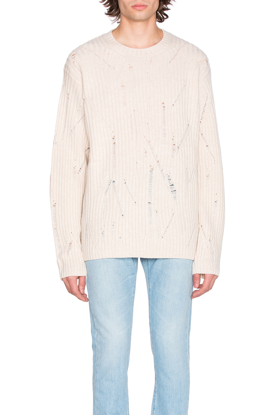 Maison Margiela Rib Sweater with Interruption in White