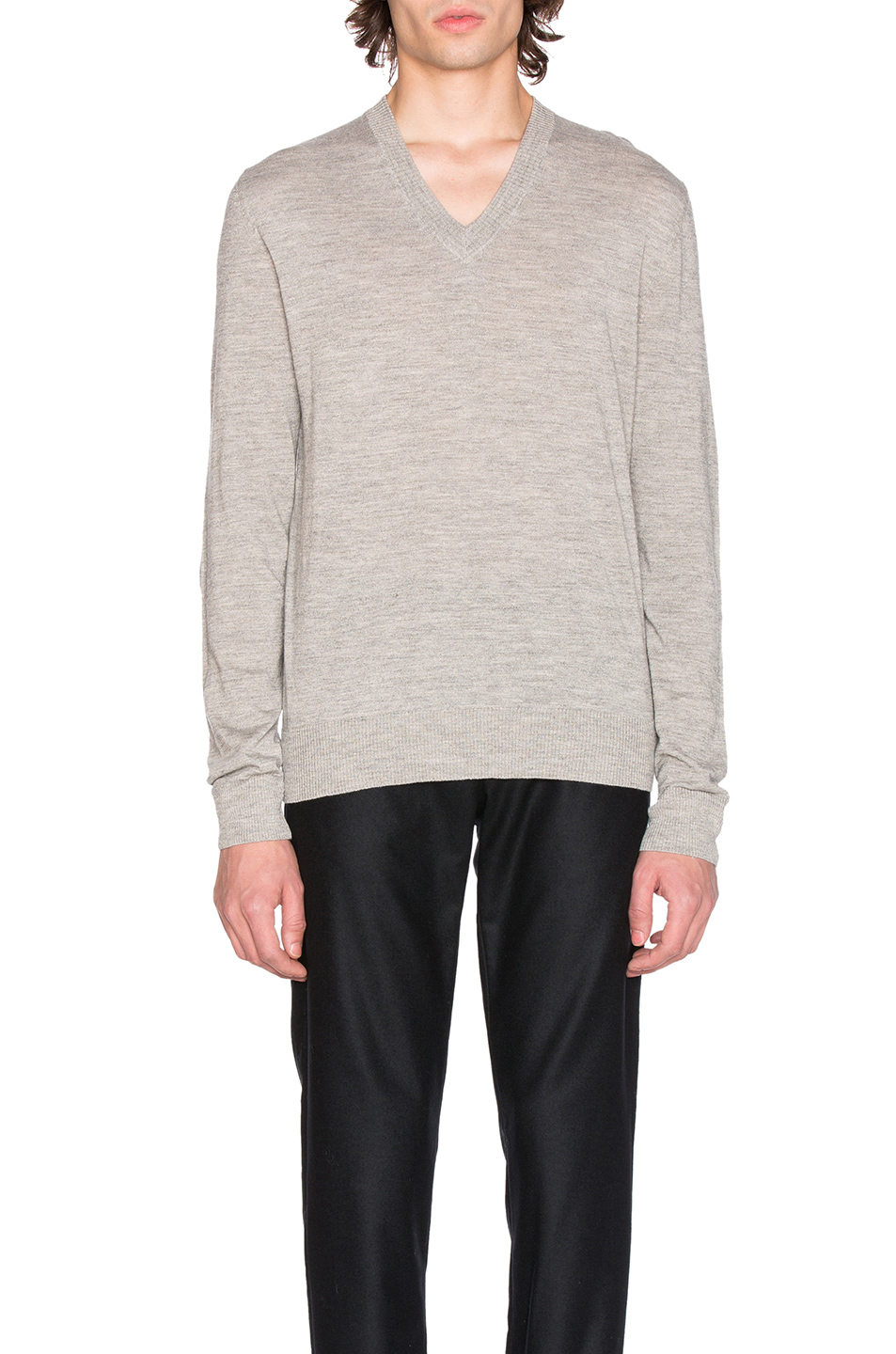 Maison Margiela Jersey V Neck Sweater with Elbow Patches in Gray