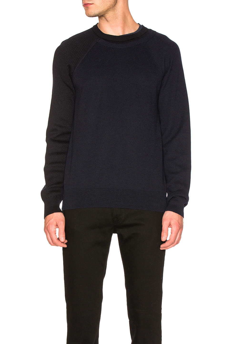 Maison Margiela Herringbone & Honeycomb Sweater in Blue