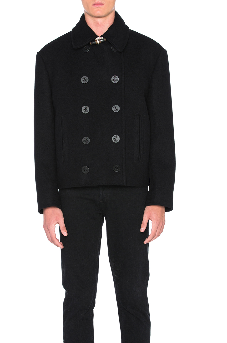 Maison Margiela Melton Coat in Black