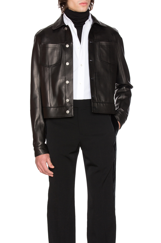 Maison Margiela Lamb Leather Trucker Jacket in Black