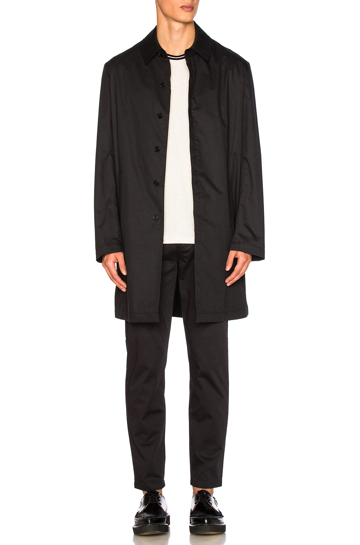 Maison Margiela Waterproof Cotton Twill Coat in Black