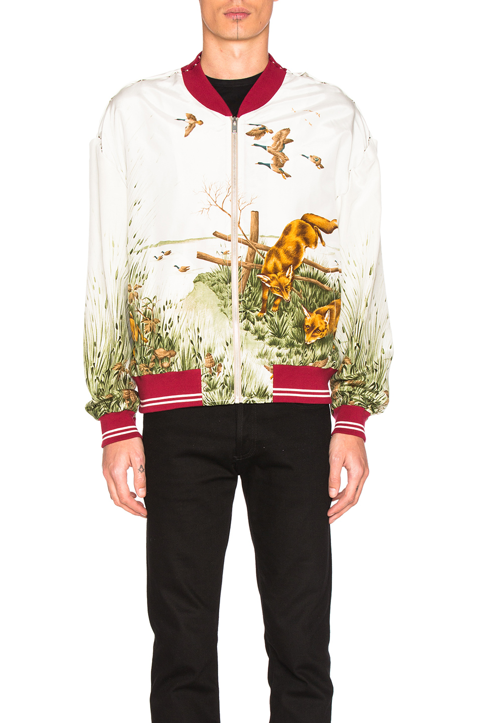 Maison Margiela Silk Bomber in White,Animal Print