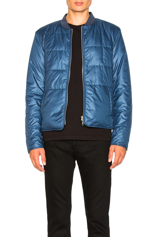 Maison Margiela Glossy Polyester Bomber Jacket in Blue