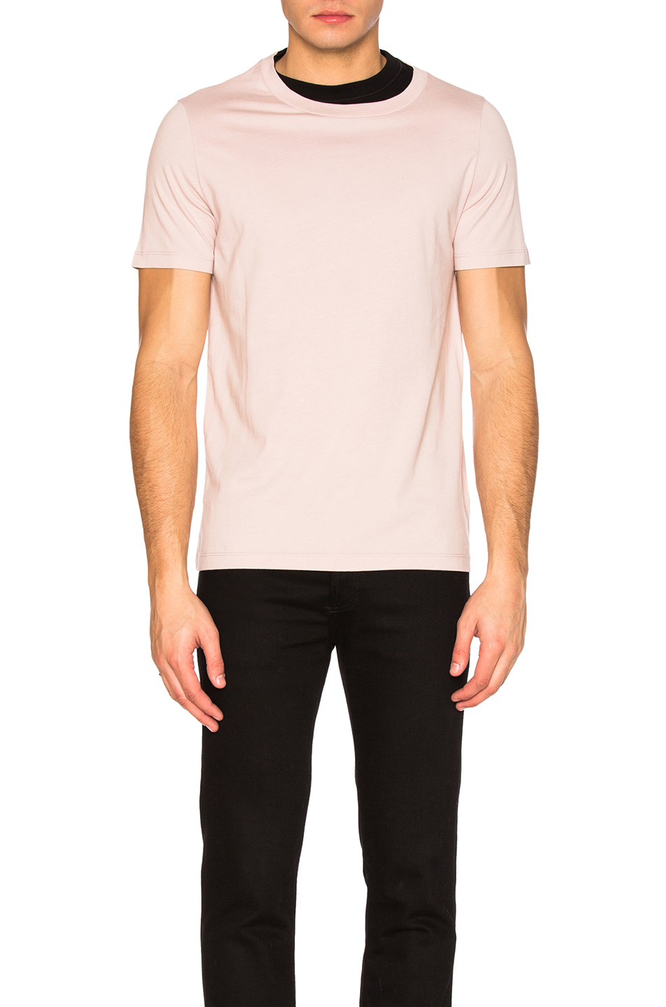 Maison Margiela Cotton Jersey Contrast Tee in Pink