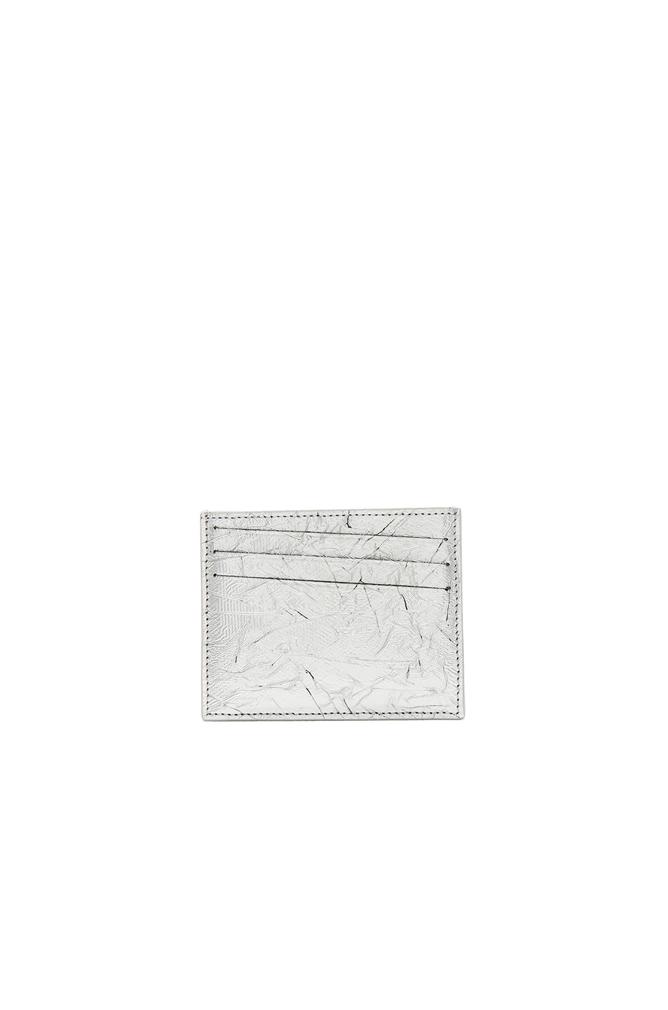 Maison Margiela Shiny Leather Cardholder in Gray,Metallics