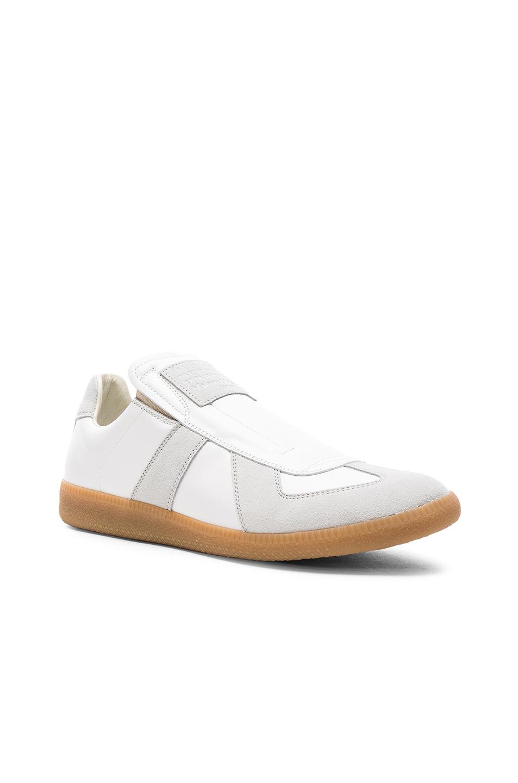 Maison Margiela Calfskin & Suede Replica Slip-ons in White