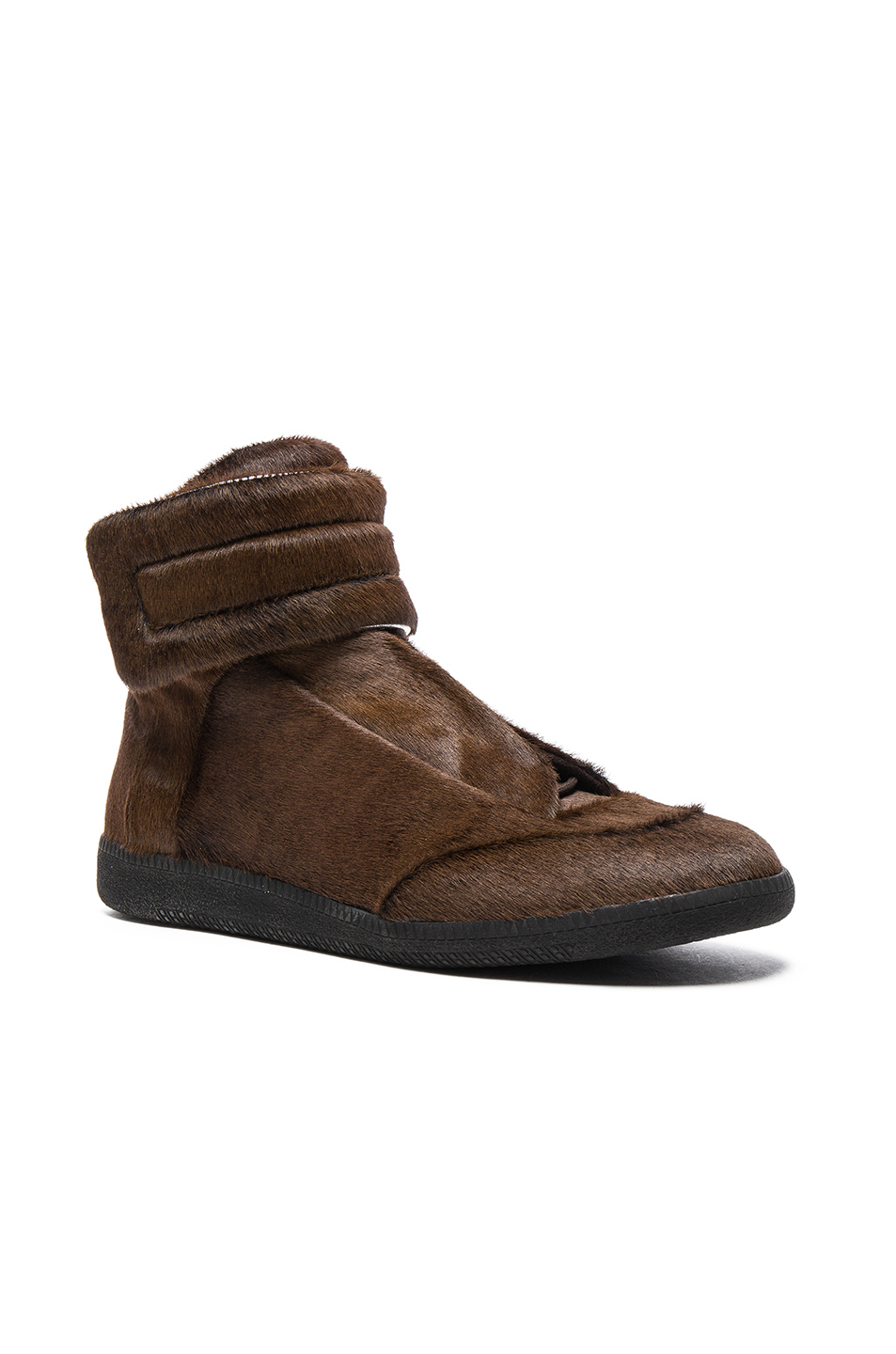 Maison Margiela Calf Hair & Suede Future High Tops in Brown
