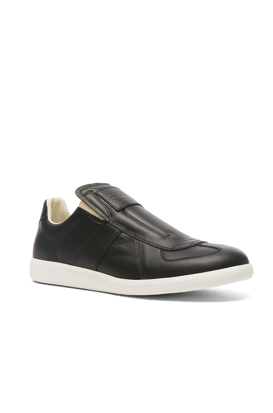Maison Margiela Calfskin Replica Slip On Leather Sneakers in Black
