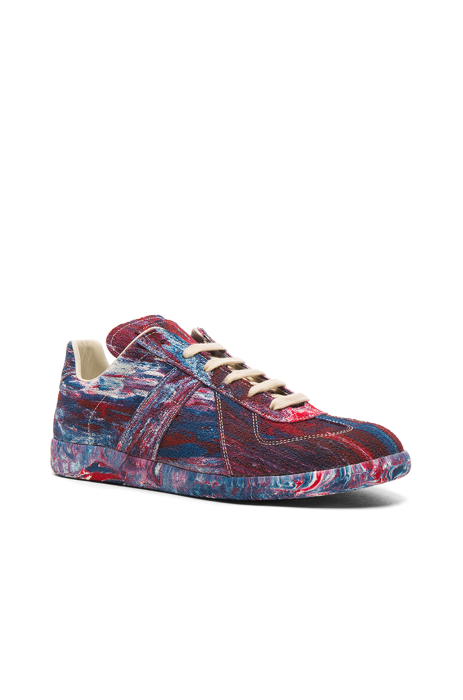 Maison Margiela Replica Rubber Sneakers in Ombre & Tie Dye,Red,Blue