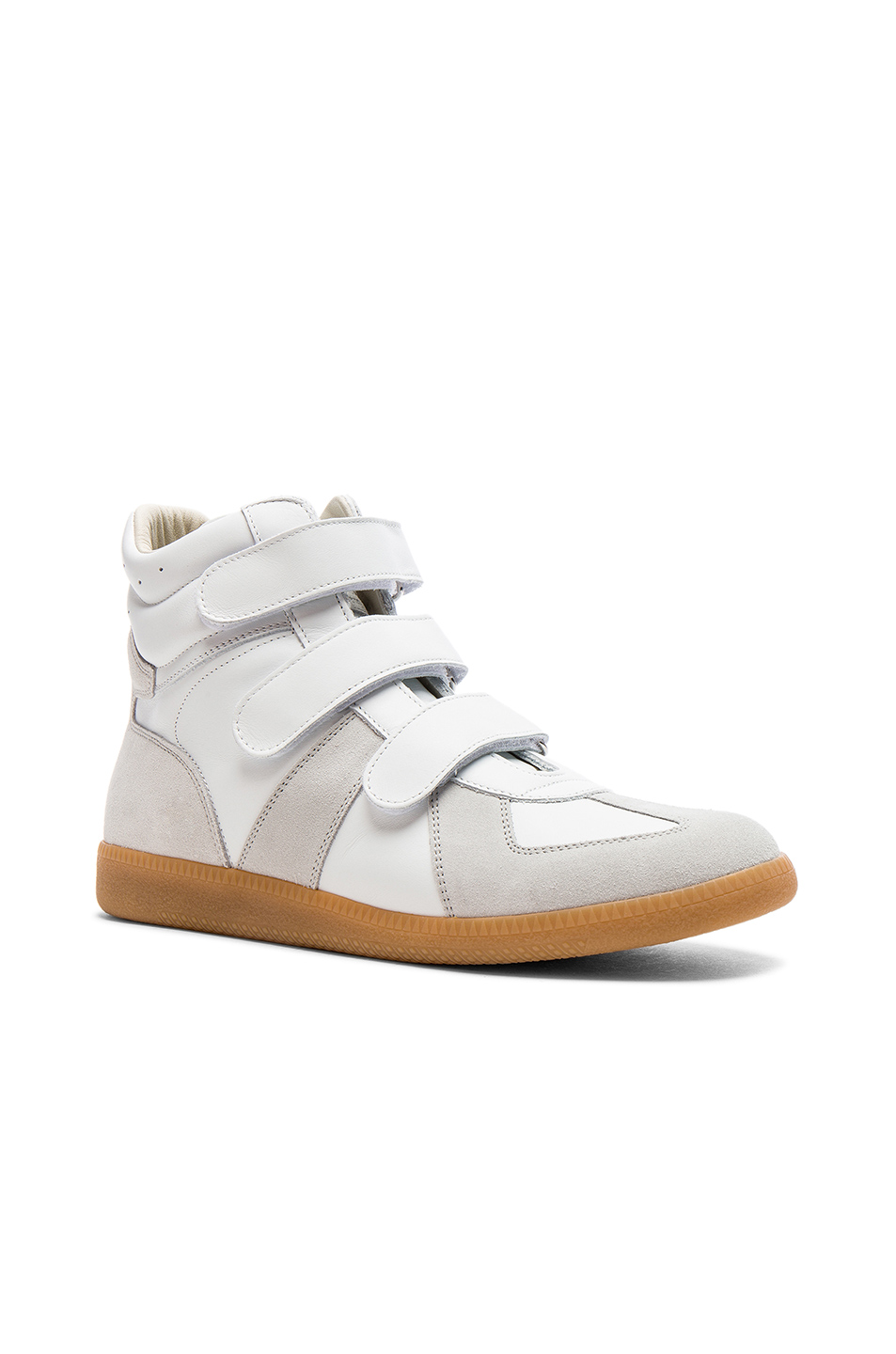 Maison Margiela Calfskin Velcro High Tops in Neutrals,White