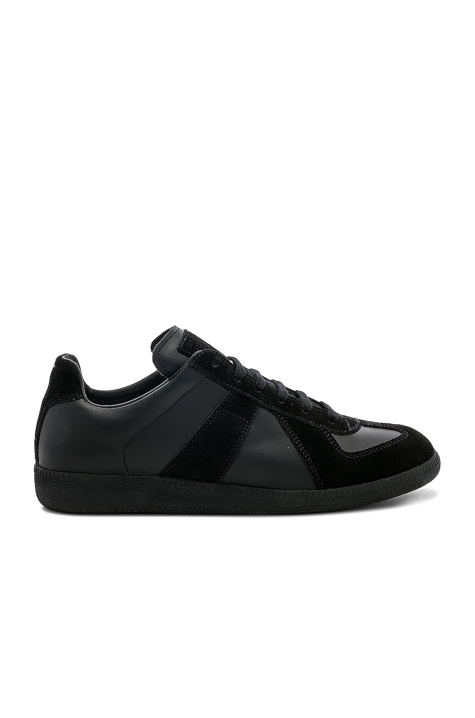 Maison Margiela Soft Leather & Velour Replica Sneakers in Black