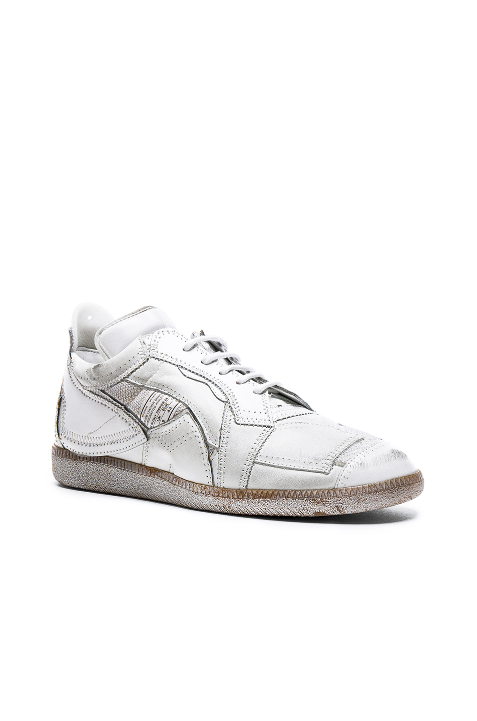 Maison Margiela Limited Edition Mixed Soft Leather & Mesh Sneakers in White