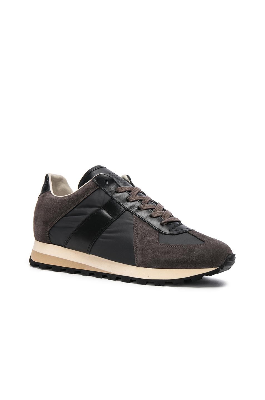 Photo of Maison Margiela Calfskin & Suede Retro Runner Sneakers in Black,Gray - shop Maison Margiela menswear