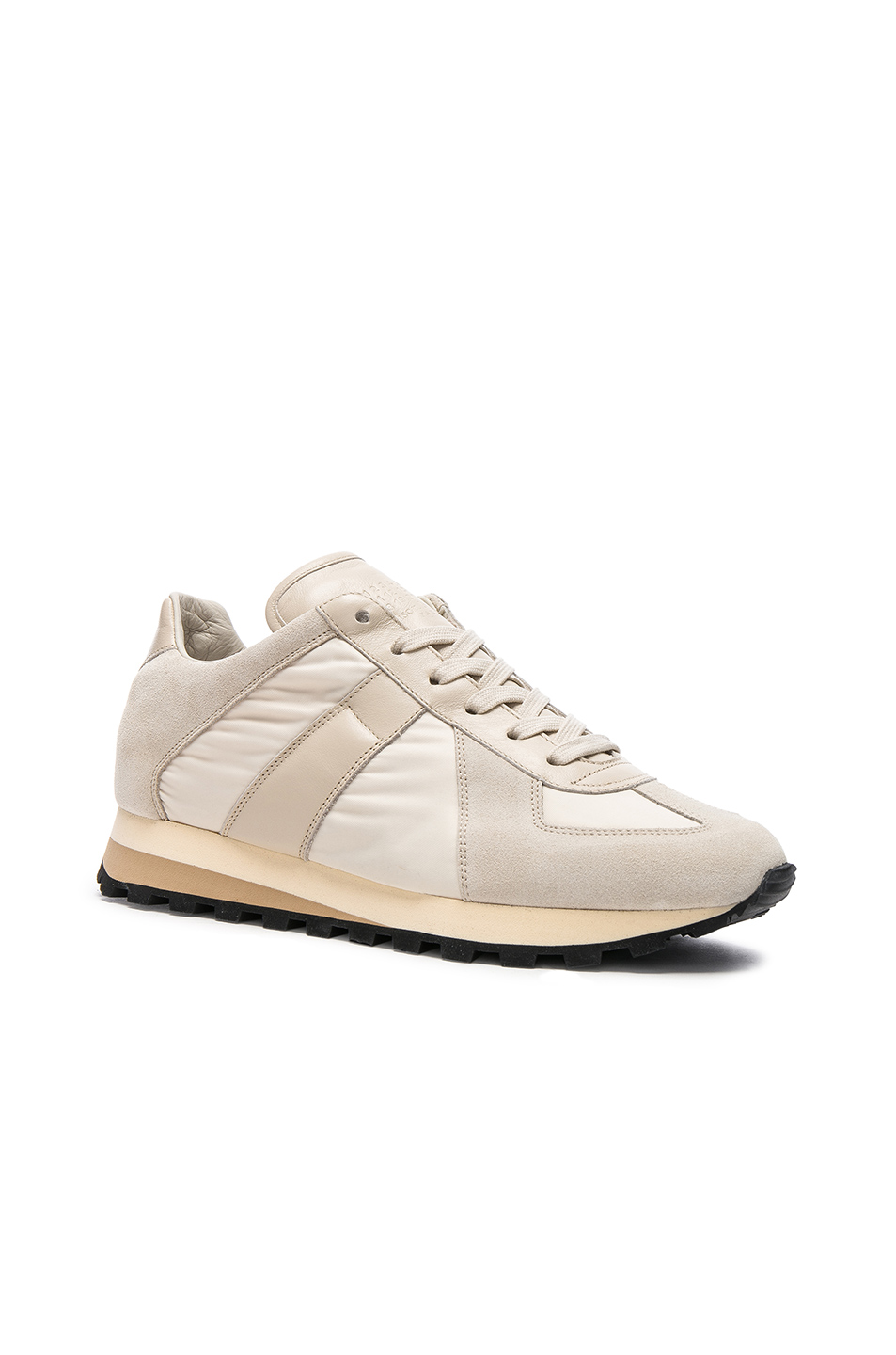 Maison Margiela Calfskin & Suede Retro Runner Sneakers in Neutrals,White