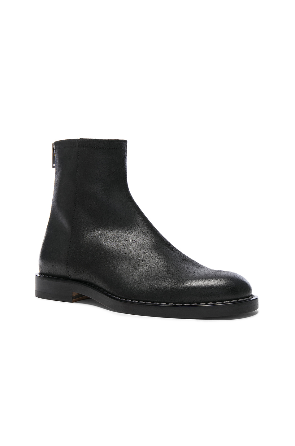 Maison Margiela Leather Light Brushed Effect Boots in Black