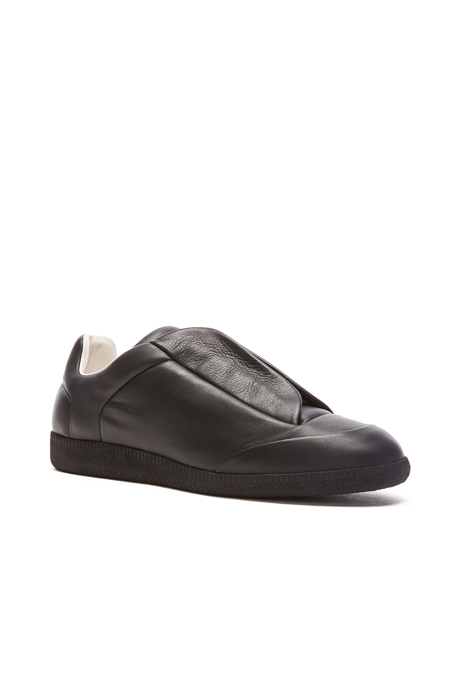Photo of Maison Margiela Future Leather Low Tops in Black - shop Maison Margiela menswear