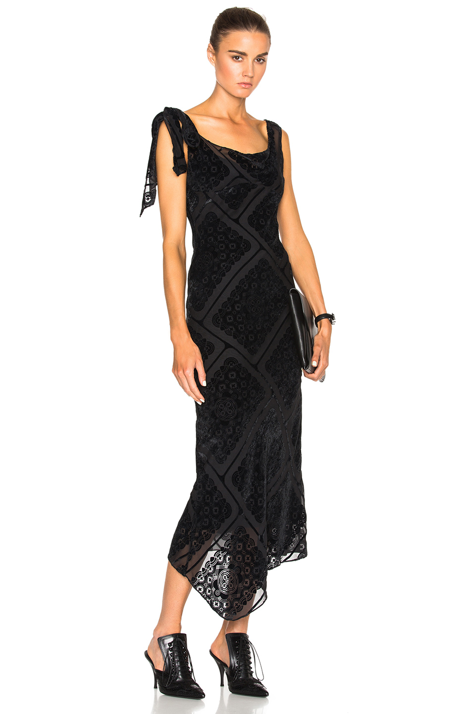 Maison Margiela Printed Devore Gown in Black