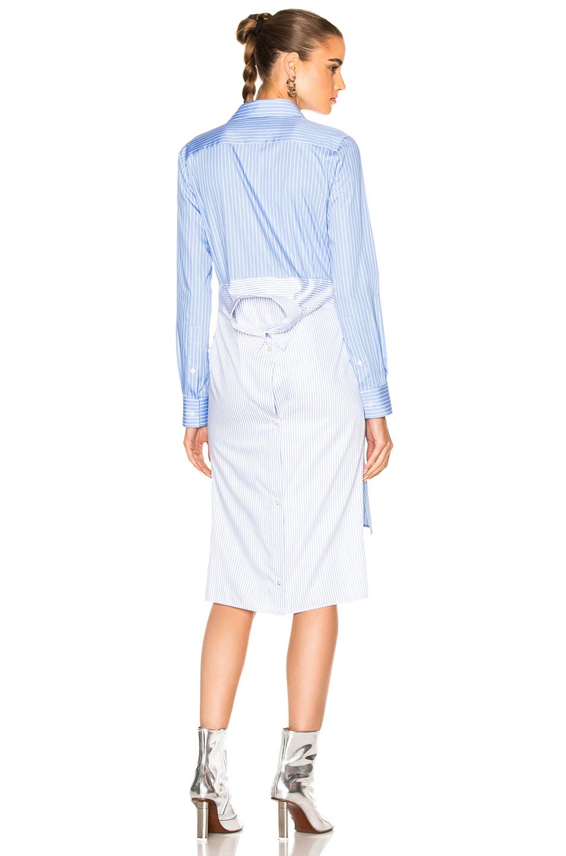 Maison Margiela Striped Cotton Poplin Shirt Dress in Blue,Stripes