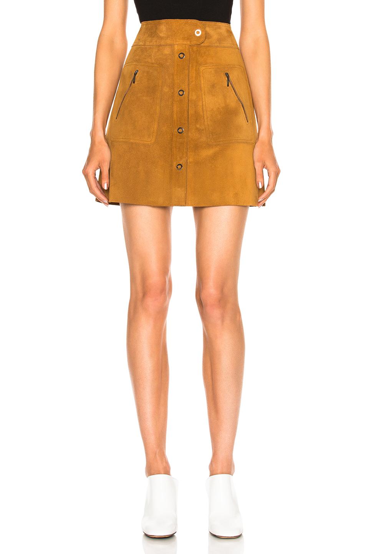Maison Margiela Crust Leather Mini Skirt in Brown,Neutrals