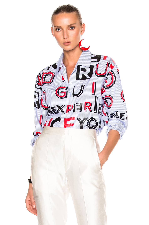 Maison Margiela Striped Cotton Letter Print Shirt in Blue,Stripes,Red,White