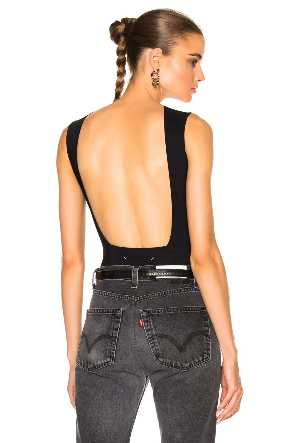 Maison Margiela Technical Stretch Jersey Backless Bodysuit in Black