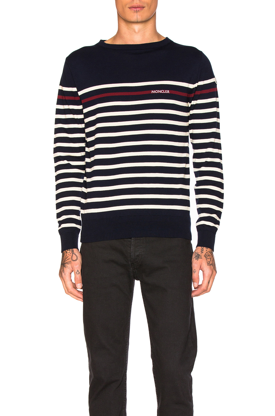 Moncler Stripe Sweater in Blue,Stripes