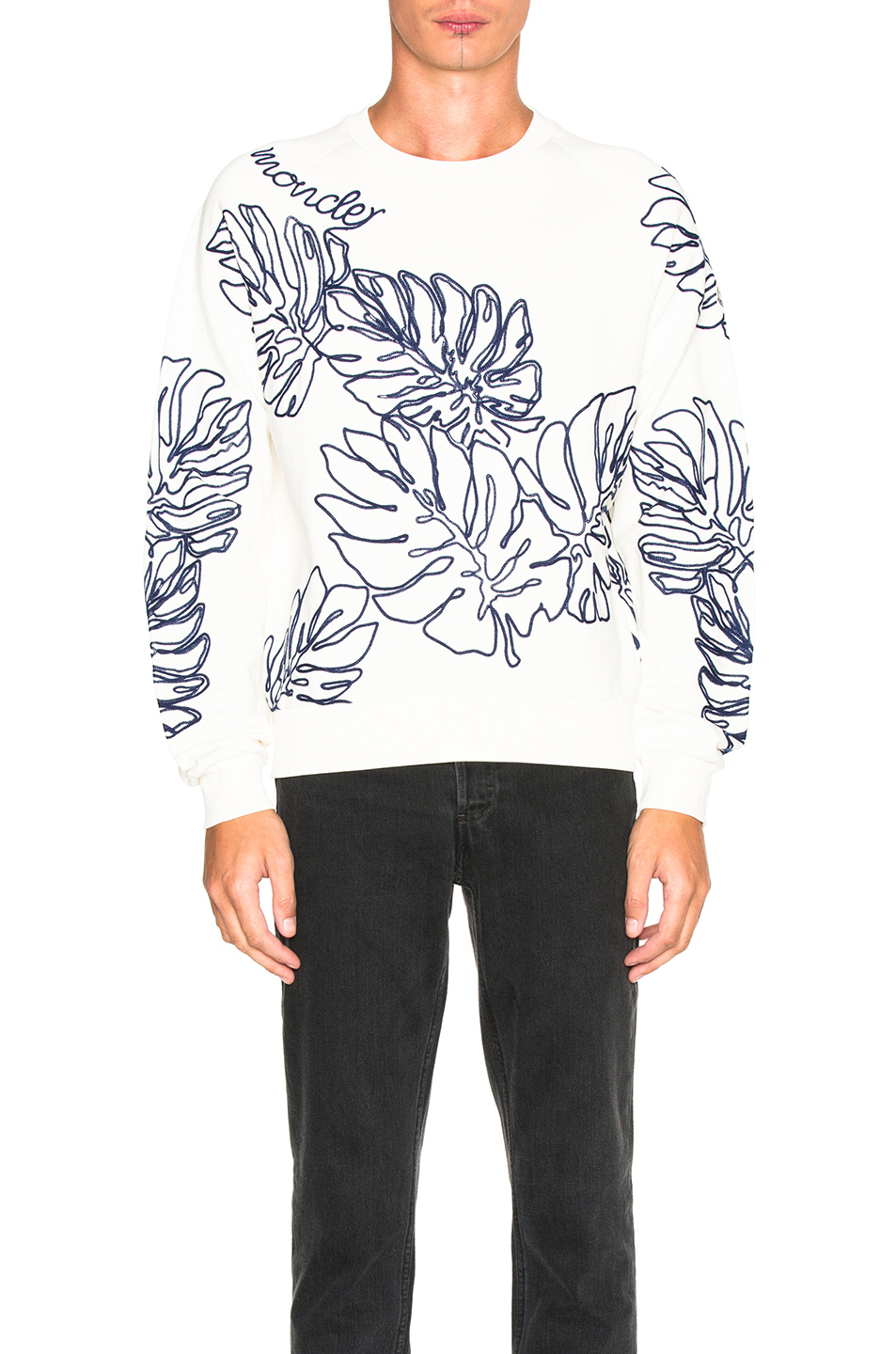 Moncler Crewneck Sweatshirt in White,Floral