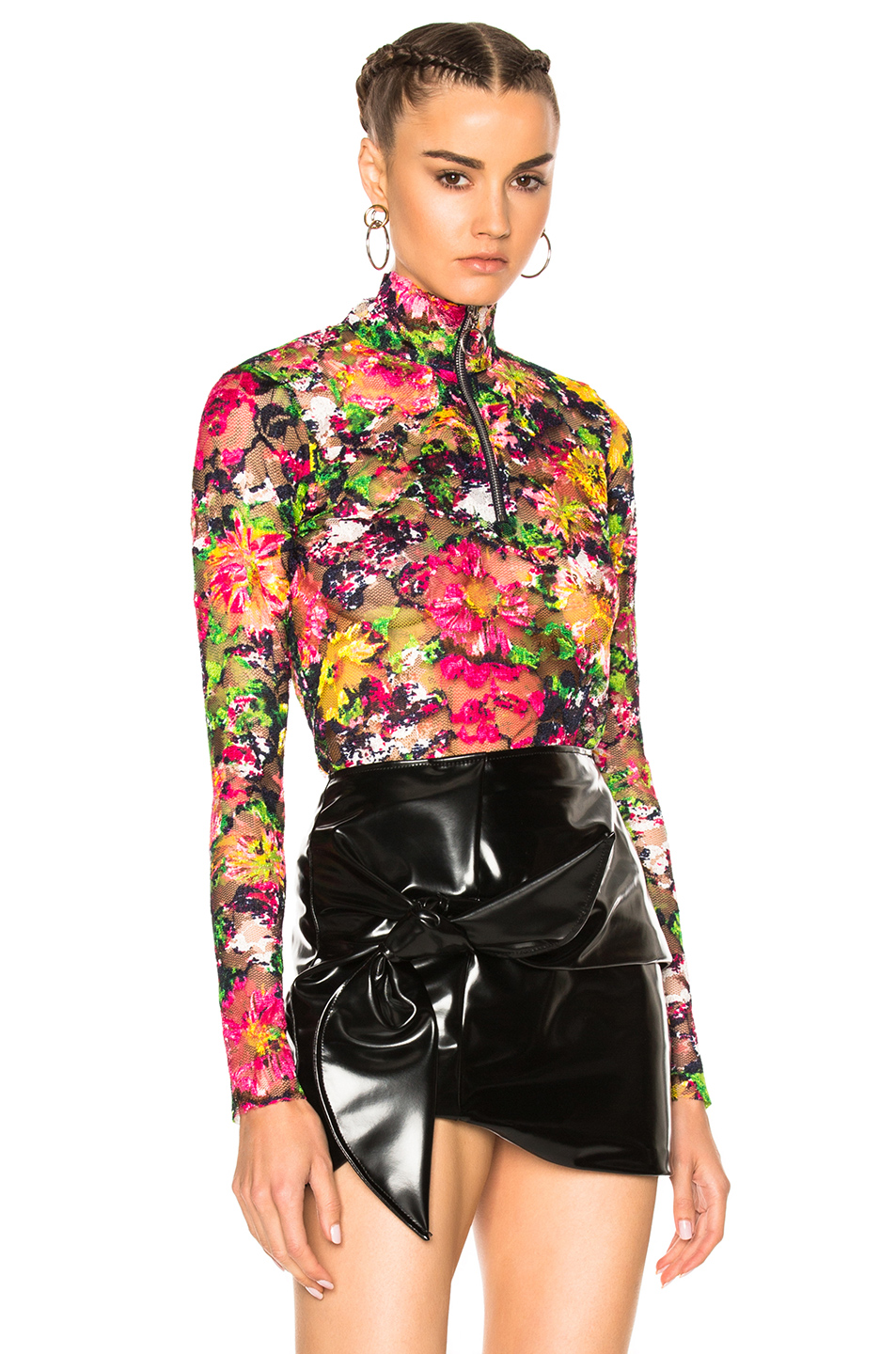 Marques ' Almeida Lace Zip Neck Top in Floral,Green,Pink
