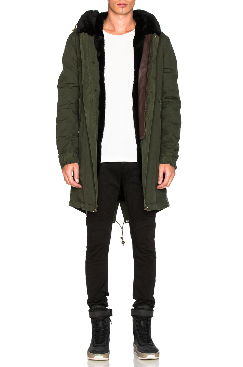 Mr & Mrs Italy Canvas Parka With Shaved Beaver Fur in Green
