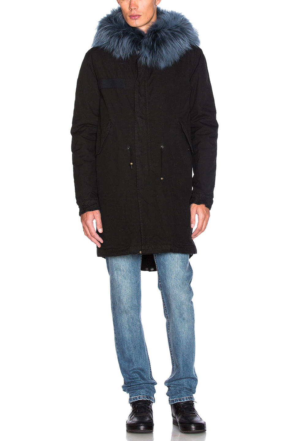 Photo of Mr & Mrs Italy Canvas Parka With Rabbit Fur in Black - shop Mr & Mrs Italy menswear