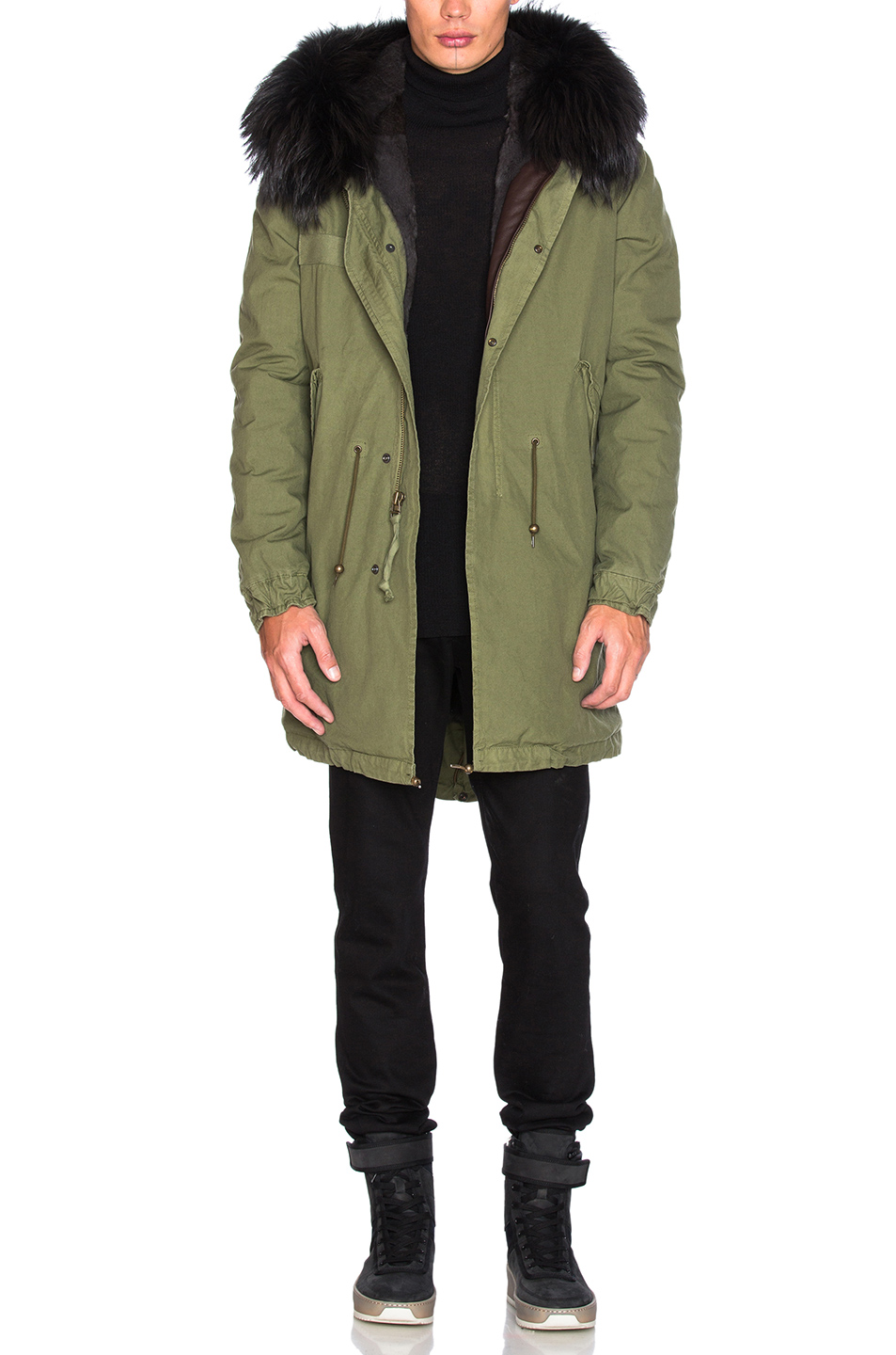 Mr & Mrs Italy Canvas Parka With Rabbit Fur in Green