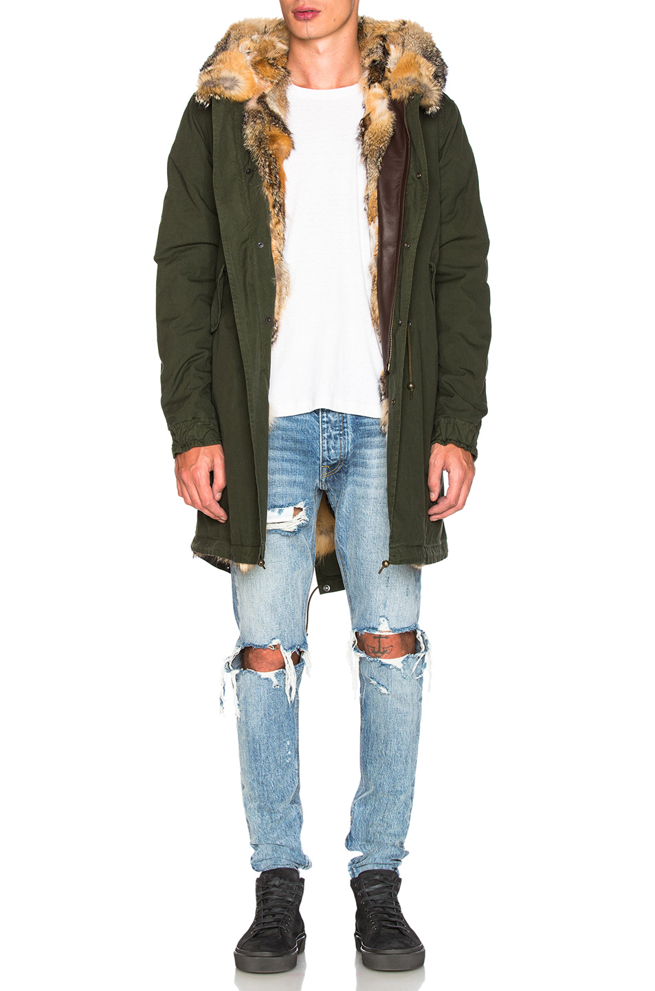 Mr & Mrs Italy Canvas Parka with Patch Virginia Fox in Green