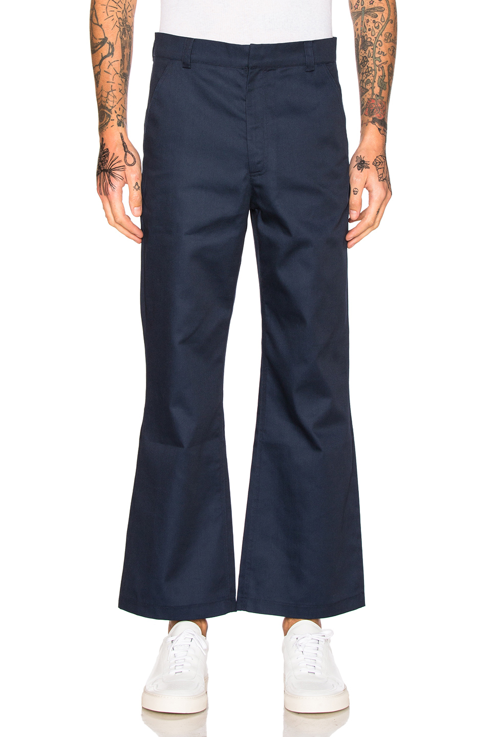 Martine Rose Kick Flare Trousers in Blue