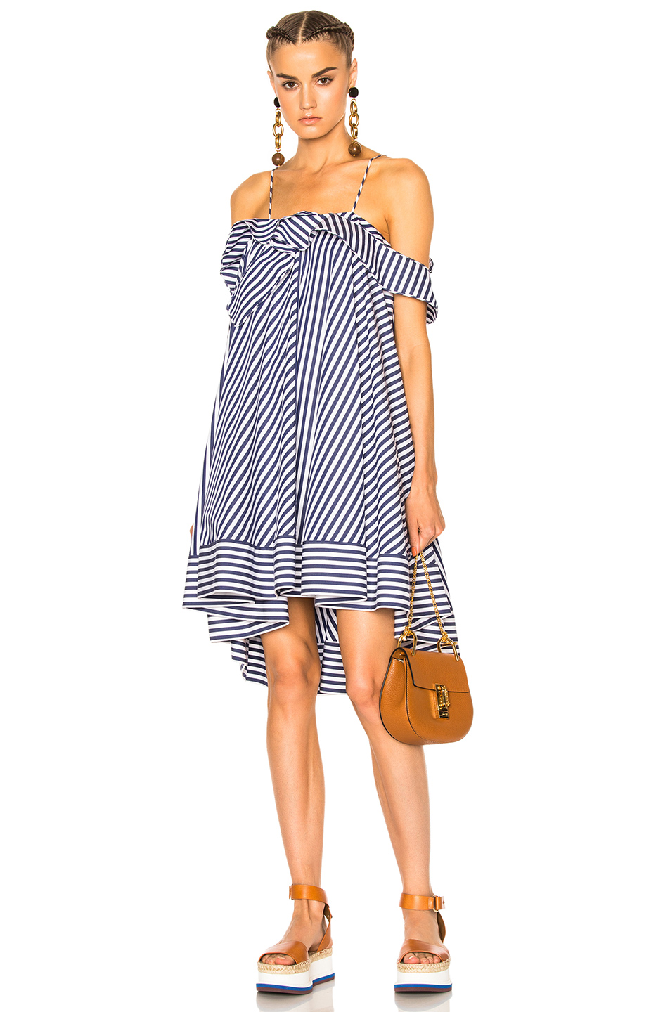 MSGM Striped Mini Dress in Blue,Stripes