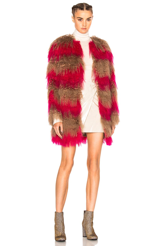 MSGM Stripe Fur Coat in Brown,Pink,Stripes