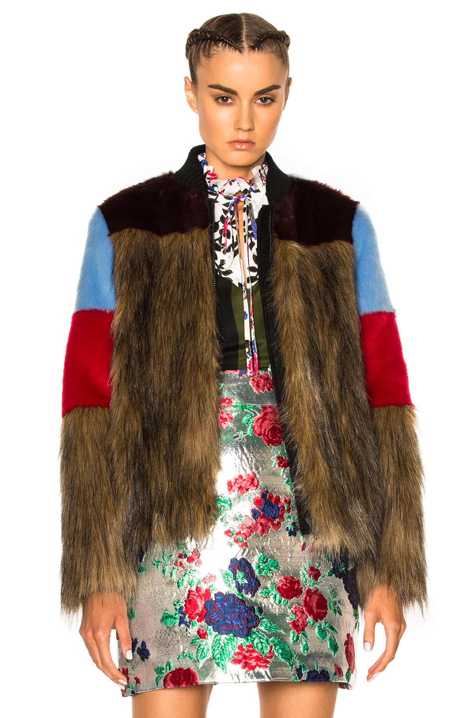 MSGM Colorblock Faux Fur Jacket in Brown,Abstract