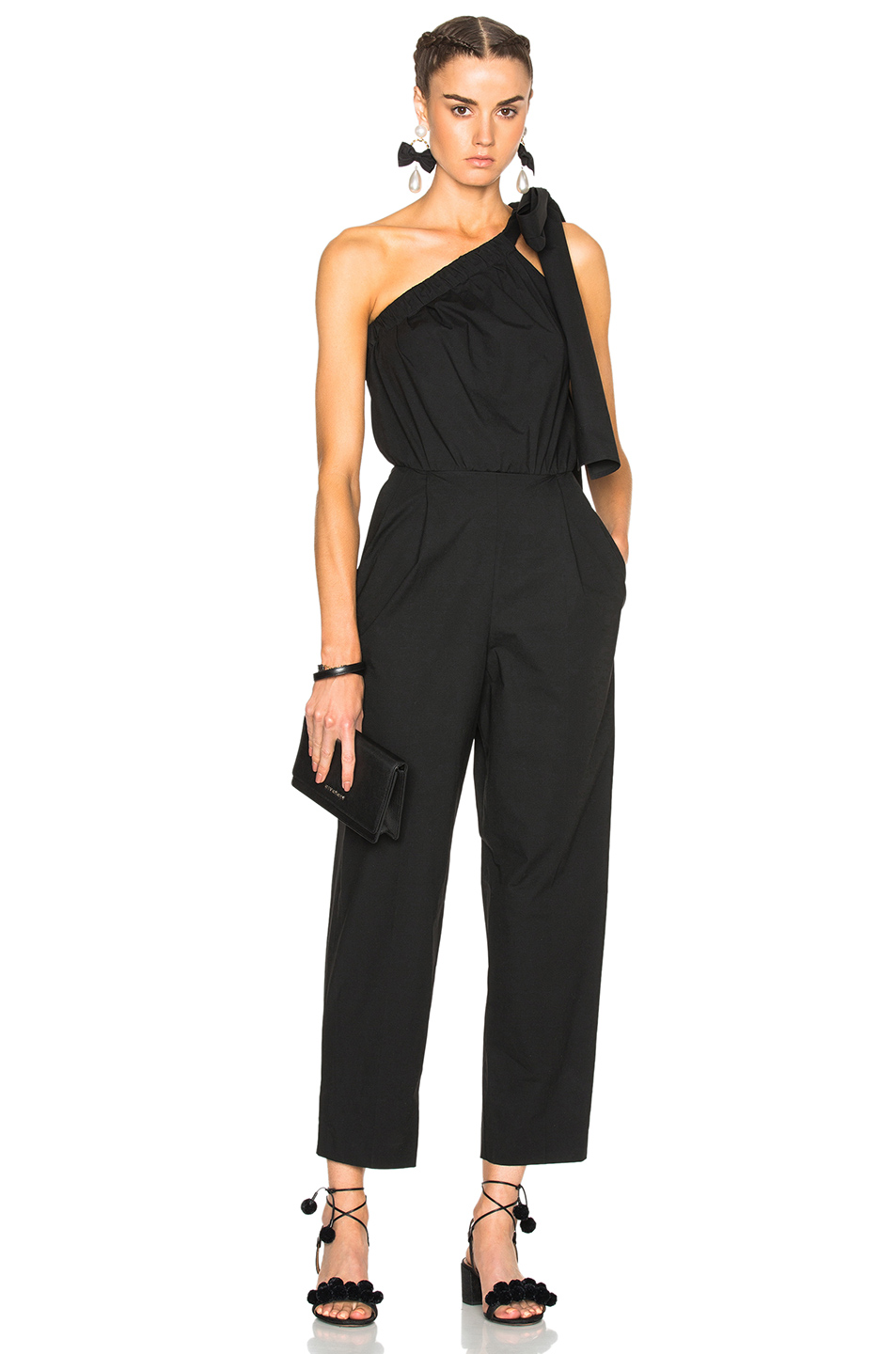 MSGM Elastic One Shoulder Jumpsuit in Black